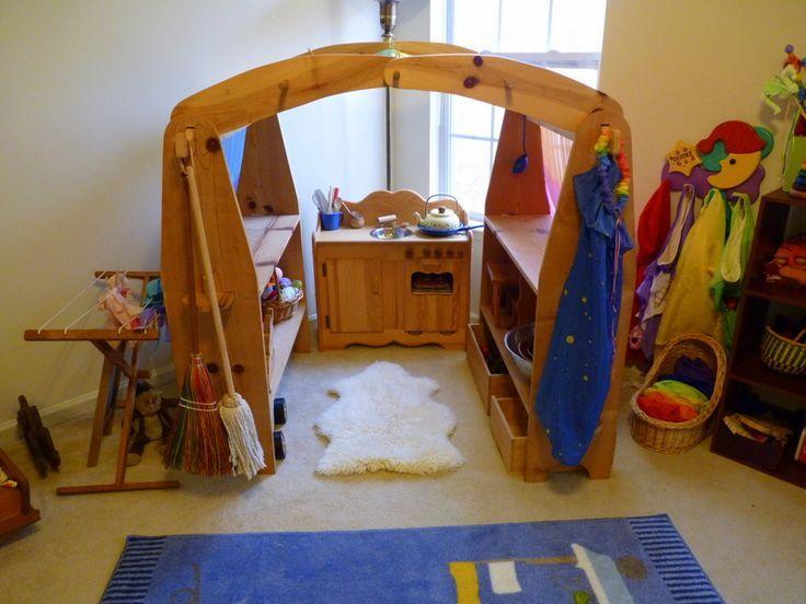 Waldorf Kinderzimmer ~ Natural wooden waldorf playstand found on dotingondeirdre