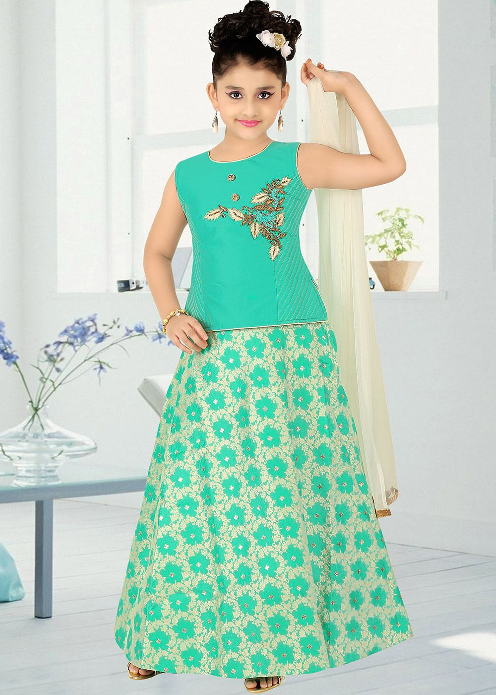 b7771f6d7a84a Children Dress · Panash Most Loved Styles - Buy Sea Green Embroidered  Lehenga Choli online, Work: Beads