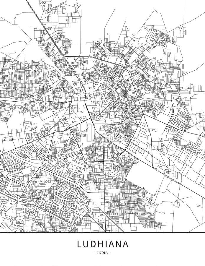 Ludhiana, India, Map poster borderless print template | Maps Vector ...