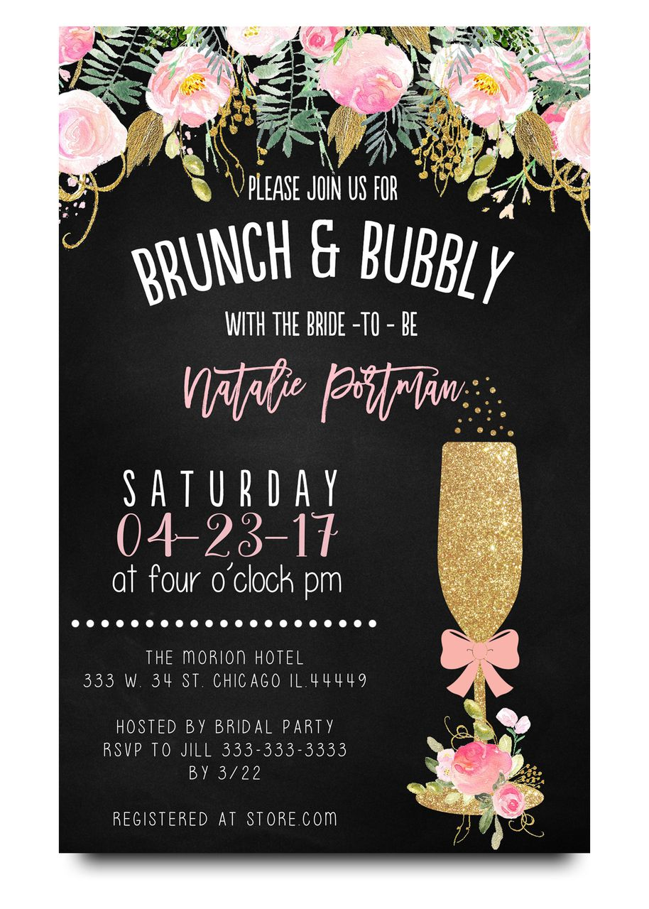 Brunch and bubbly chalkboard bridal shower invitation pinterest floral brunch and bubblychalkboard flowers glitter champagne glass brunch and flowers filmwisefo