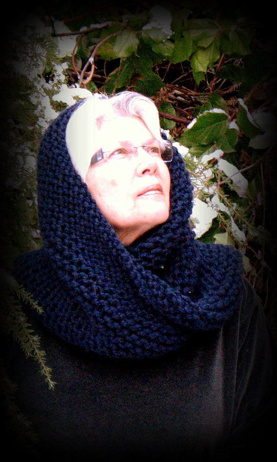 Snood Cowl Neckwrap Hood Hat Navy Infinity by FishBaySunsets, $60.00