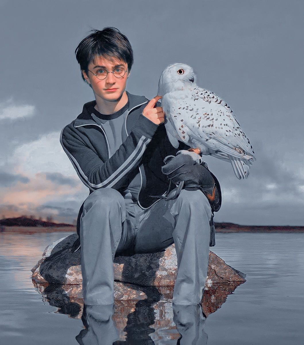 •Harry with Hedwig•