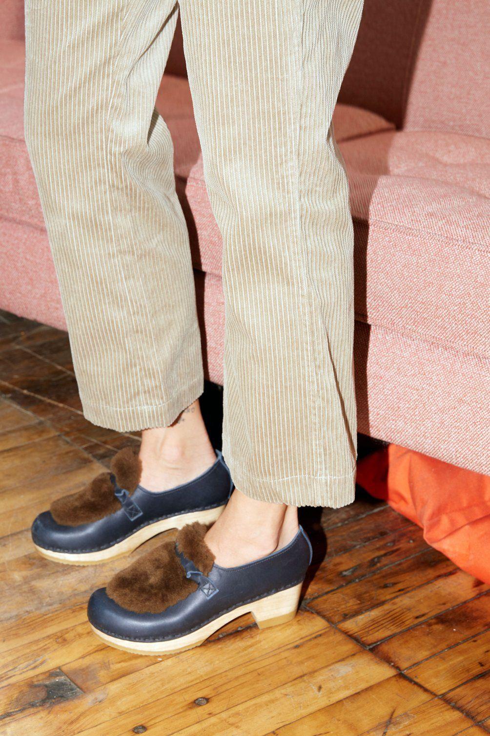 No.6 Fur Loafer Clog on Mid Heel in