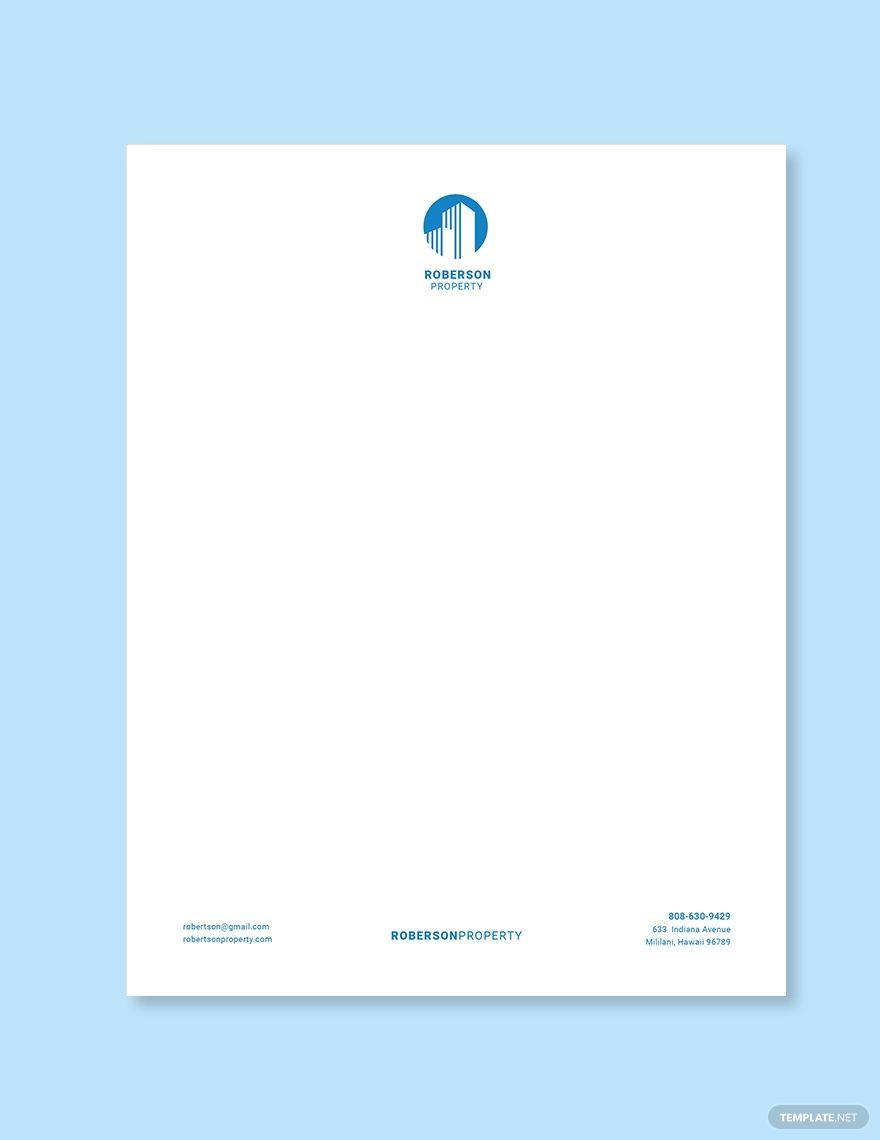 Luxury Real Estate Letterhead Template Free Jpg Google Docs Word Template Net Letterhead Template Business Cards Creative Letterhead Business