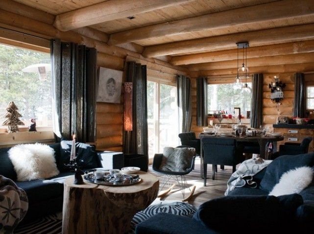Home homedecor decoration chalet livingroom chalet for Deco interieur chalet montagne