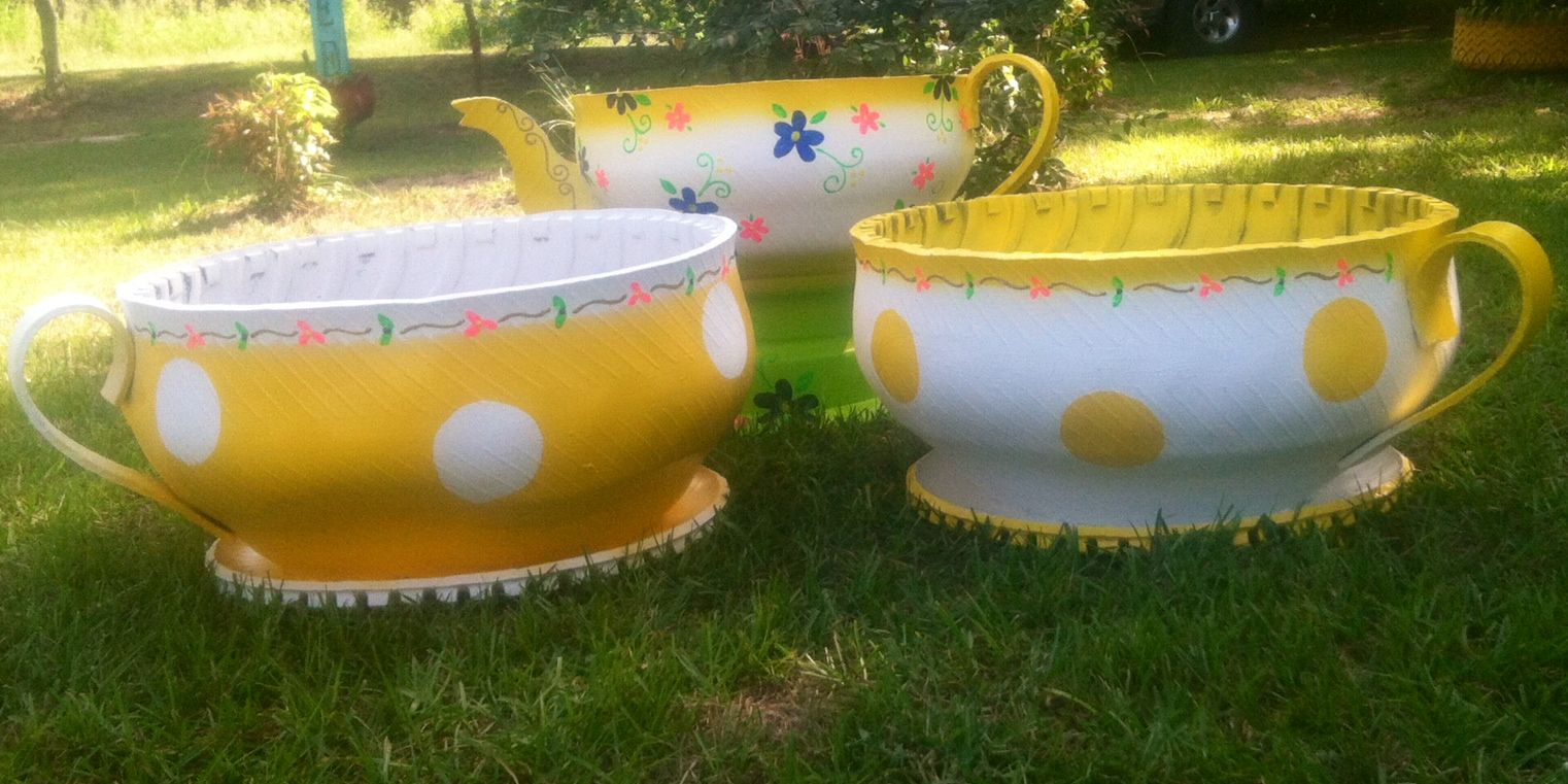 Teacups and teapot rubber pottery tire planters best for How to make a tire garden