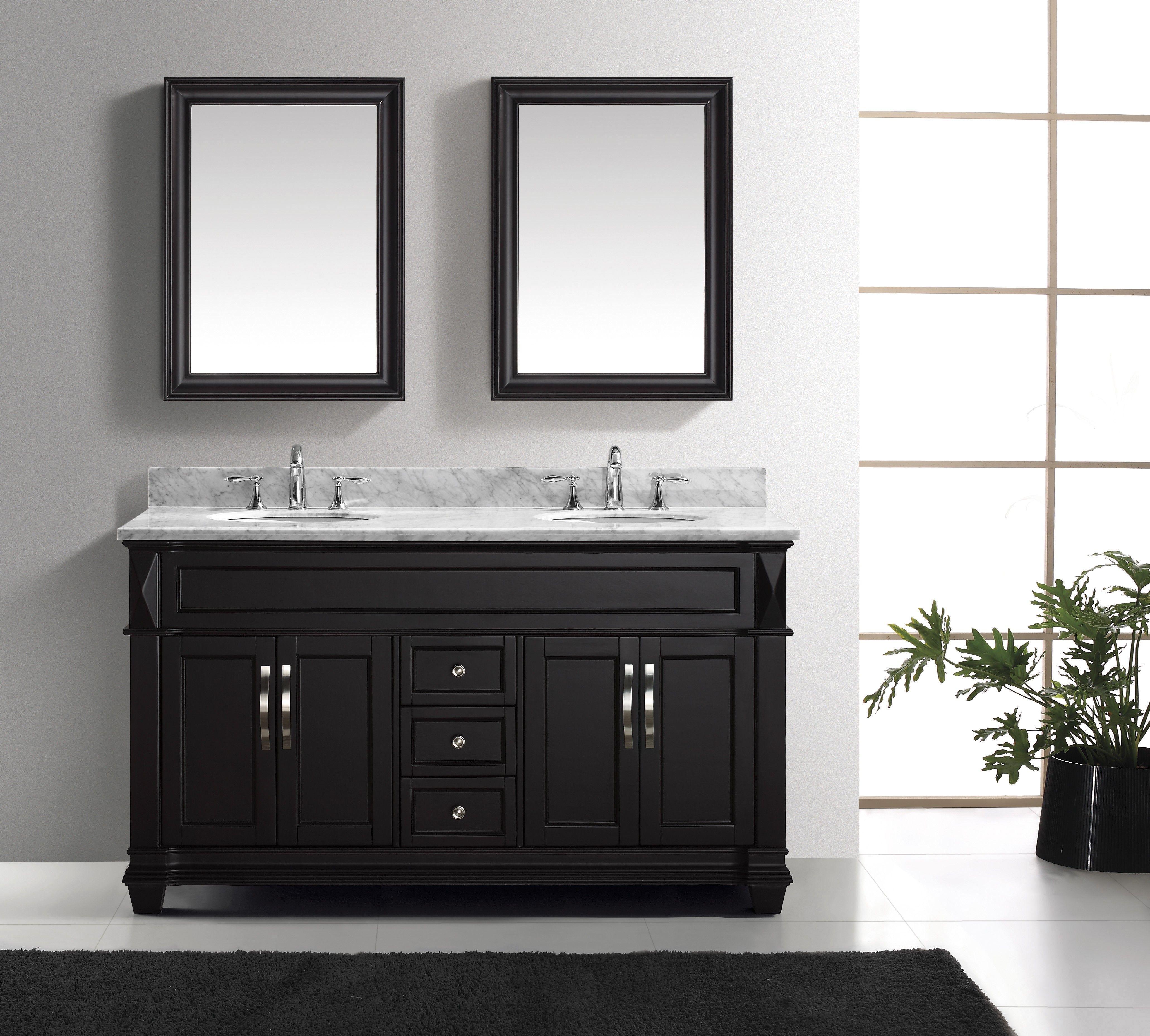 "Virtu USA SD Valentina 59"" Double Sink Bathroom Vanity"