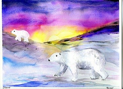 that artist woman how to paint polar bears saran wrap. Black Bedroom Furniture Sets. Home Design Ideas