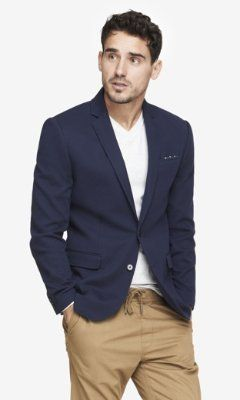 $148, Navy Pique Knit Blazer by Express. Sold by Express. Click for more info: http://lookastic.com/men/shop_items/196795/redirect