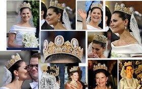 la impresionante tiara de camefos de la familia real sueca. Esta compuesta por cameos, perlas y oro. Fue la corona con la que se casaron la reina Silvia y la princesa Victoria.