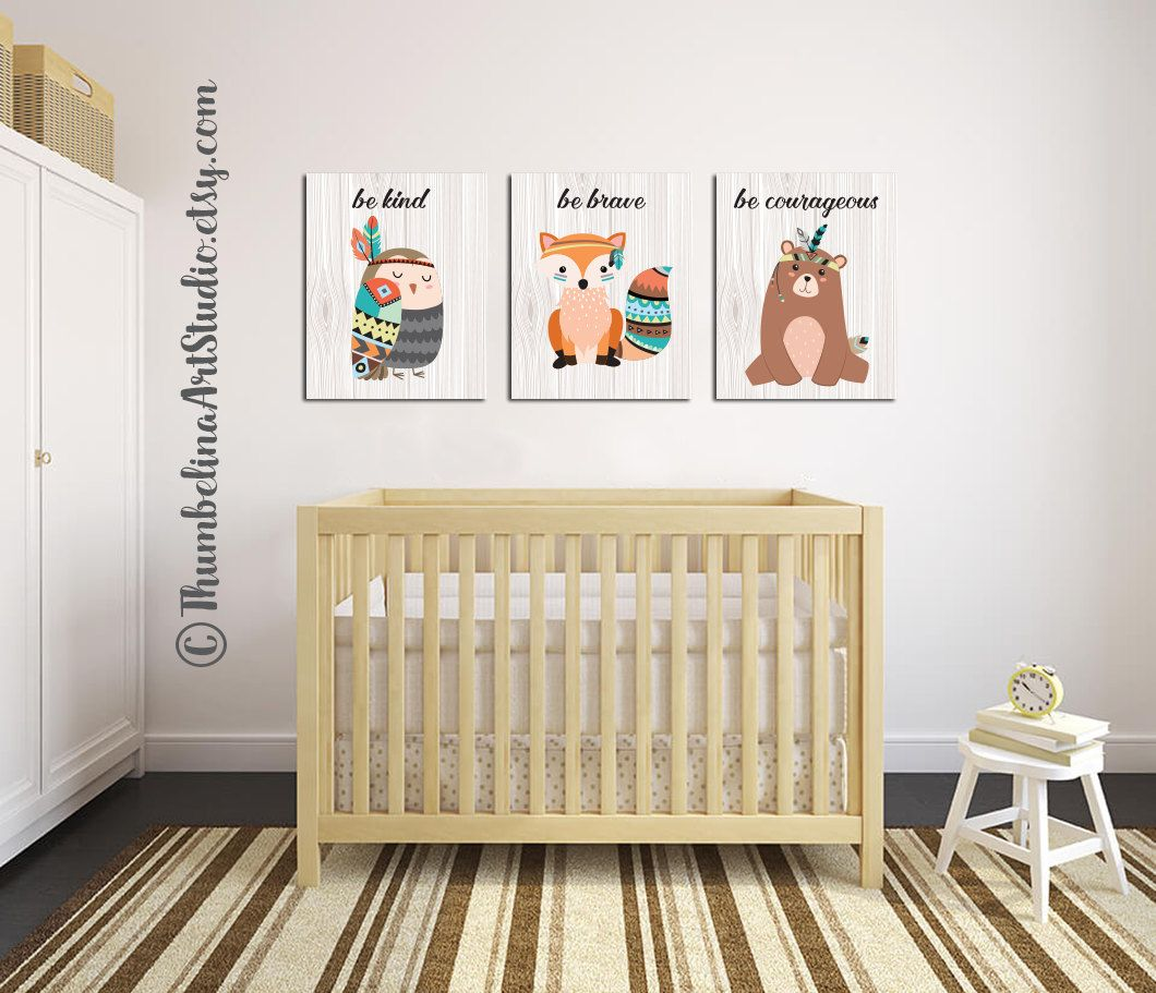 woodland nursery art be brave nursery art fox bear owl arrows