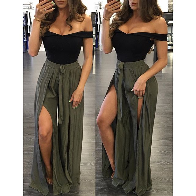 Venice Slit Pants now in Olive 😍 + Georgie Crop