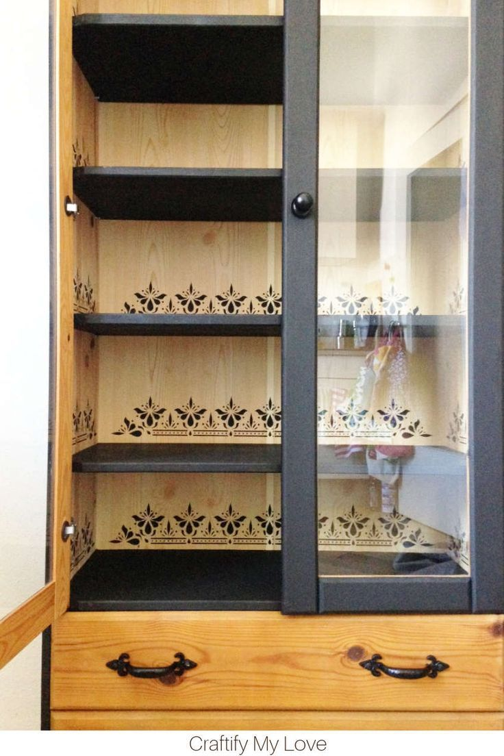 Easy China Cabinet Makeover with Stencil & Paint #furnitureredos