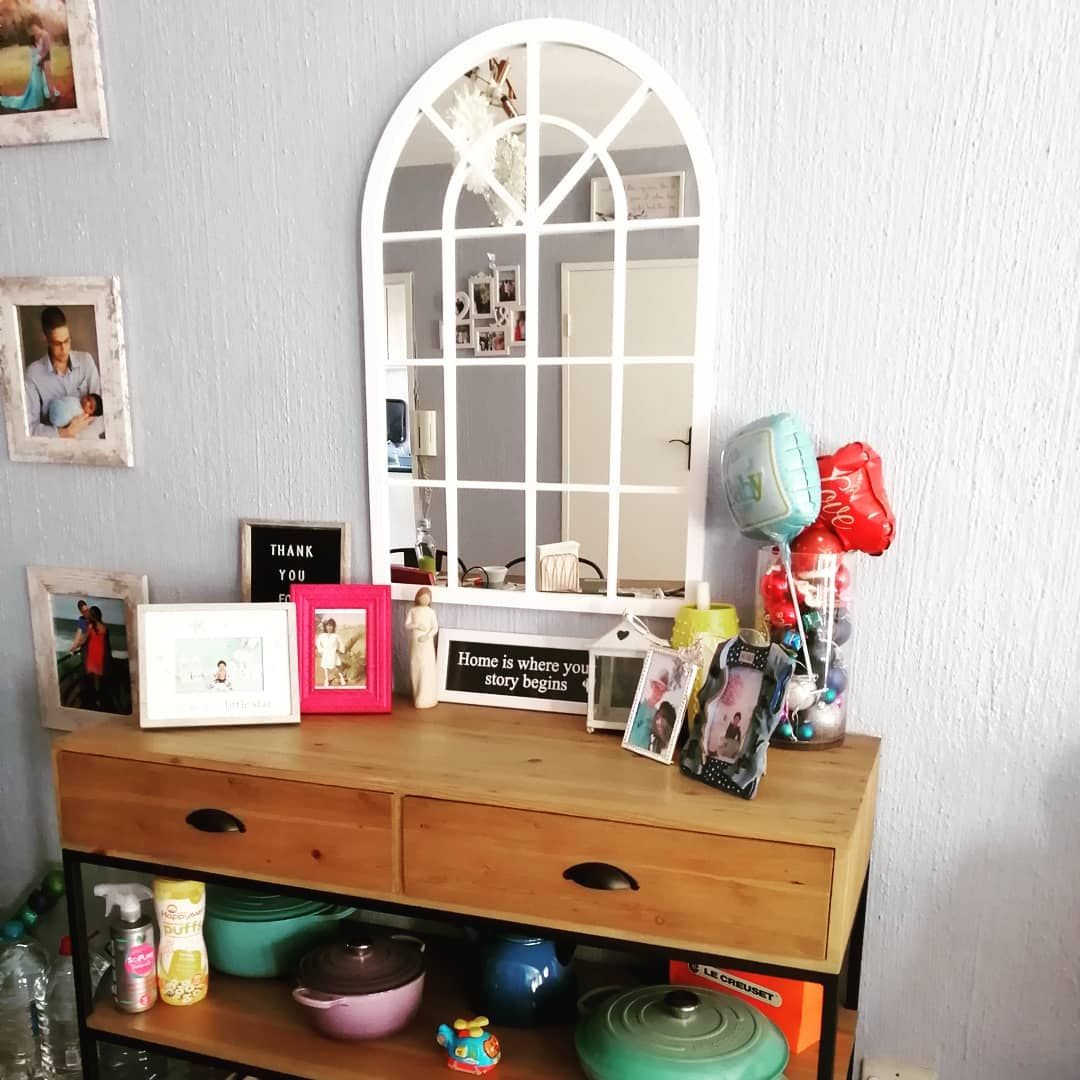 Project: Server I wanted to display my lovely Le Creuset pots so I found a pic on Pinterest ( was actually a TV unit) and changed the dimensions to make it higher. I love when an idea works out🥰 Most of my crockery had to be packed away because of bundle and somehow his toys took over... #homedecor #custommade #lecreusetlove #furnituredesign #homesweethome #decor