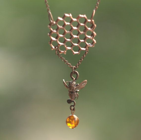 Necklace of real bee, honeycomb, amber piece, OOAK,copper electroformed objects, nature inspired, electroforming, metal plated real objects