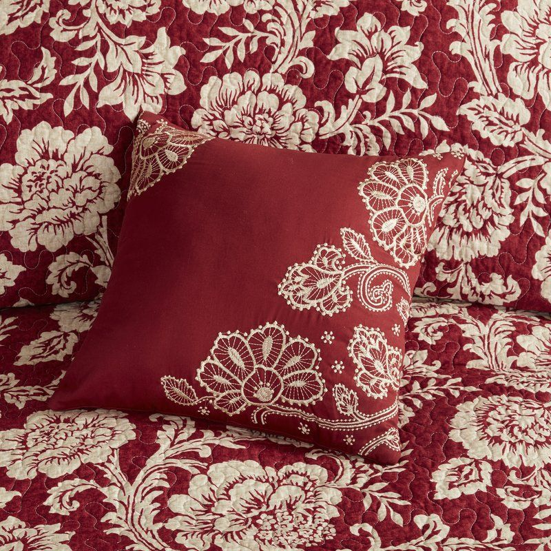 Cheshire 6 Piece Reversible Coverlet Set Coverlet Set Red Bedding Floral Comforter