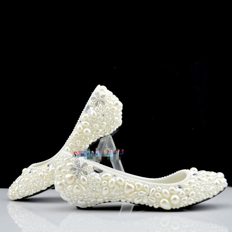 Handmade ivory pearl wedding shoes low-heeled and high heels shoes white  dress bridal shoes maternity wedding shoes ppumps women da81c807eb57