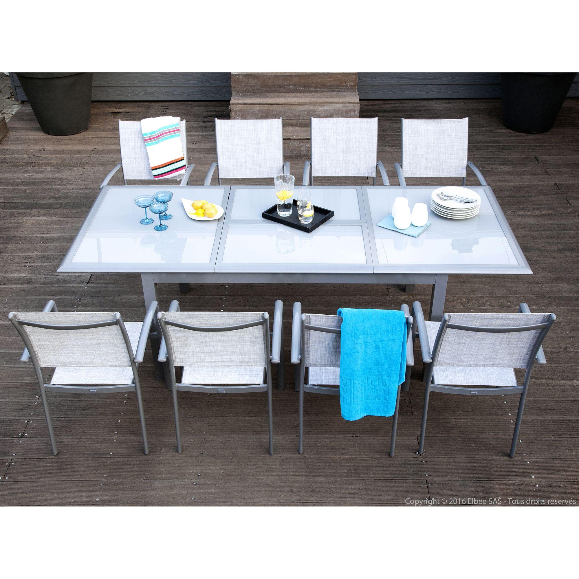 Salon De Jardin Aluminium 1 Table + 8 Fauteuils | Table Extensible ...