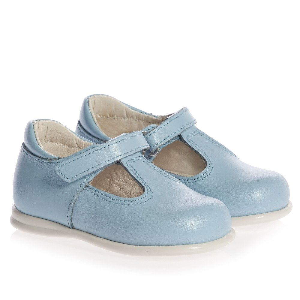 Children's Classics Pale Blue Leather T-Bar Baby Shoes at Childrensalon.com