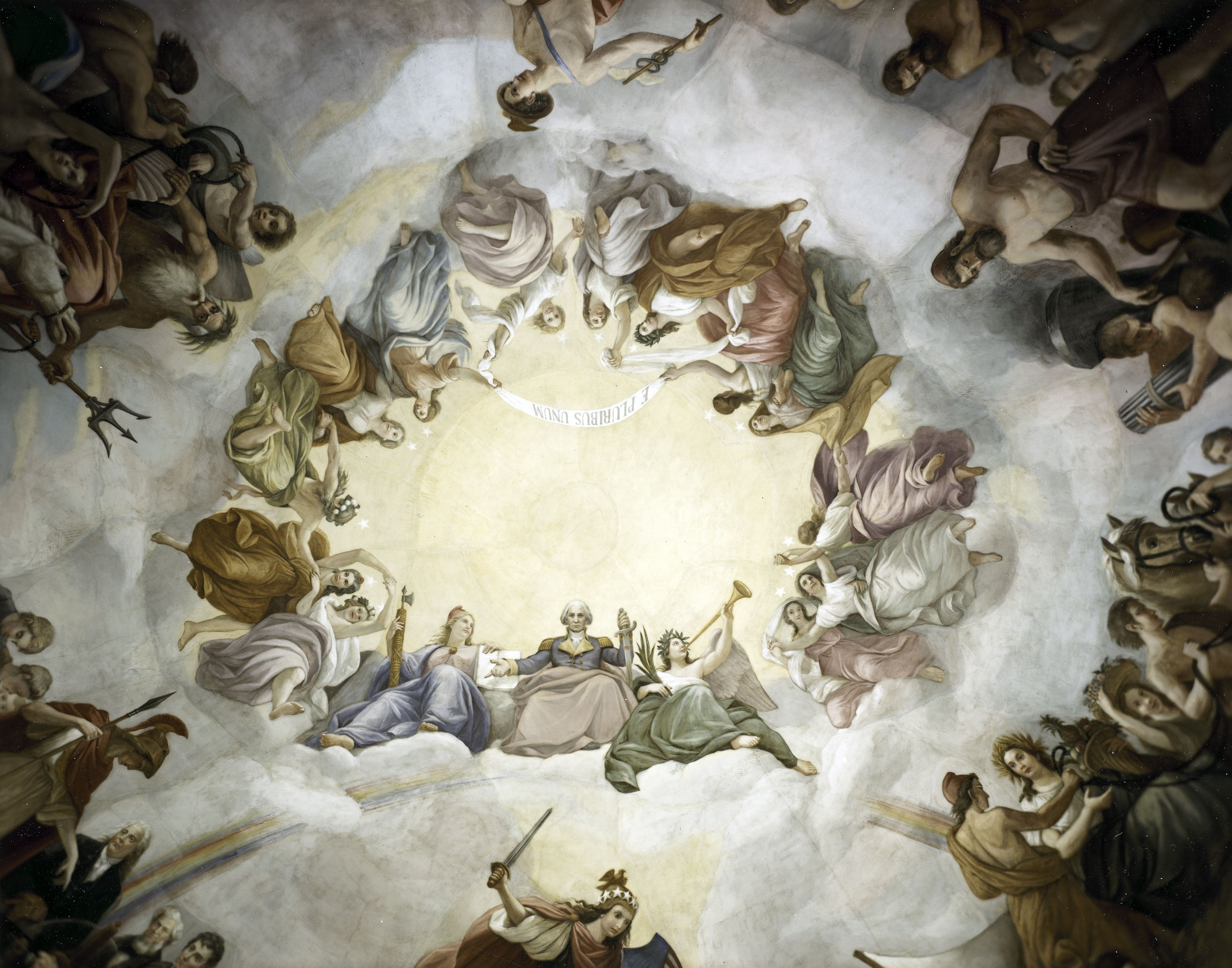 Apotheosis of george washington painting in the dome of the us washington dc the capitol rotunda the apotheosis of washington george washington rising to the heavens buycottarizona