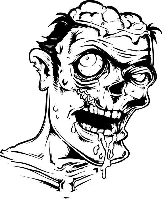 Zombie Face Wall Decal Sticker The Walking Dead (Black ...