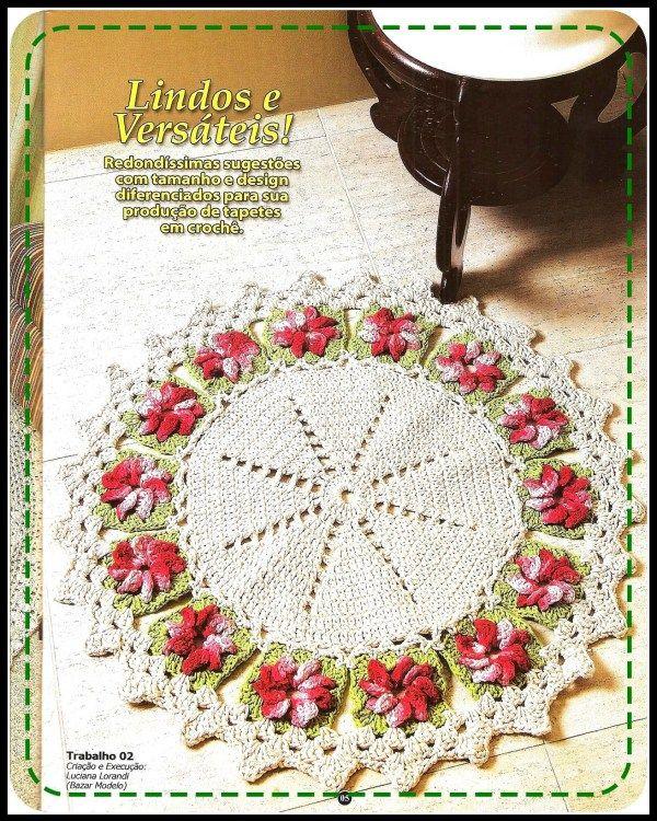 alfombra-round-crochet-flores   alfombras crochet   Pinterest ...