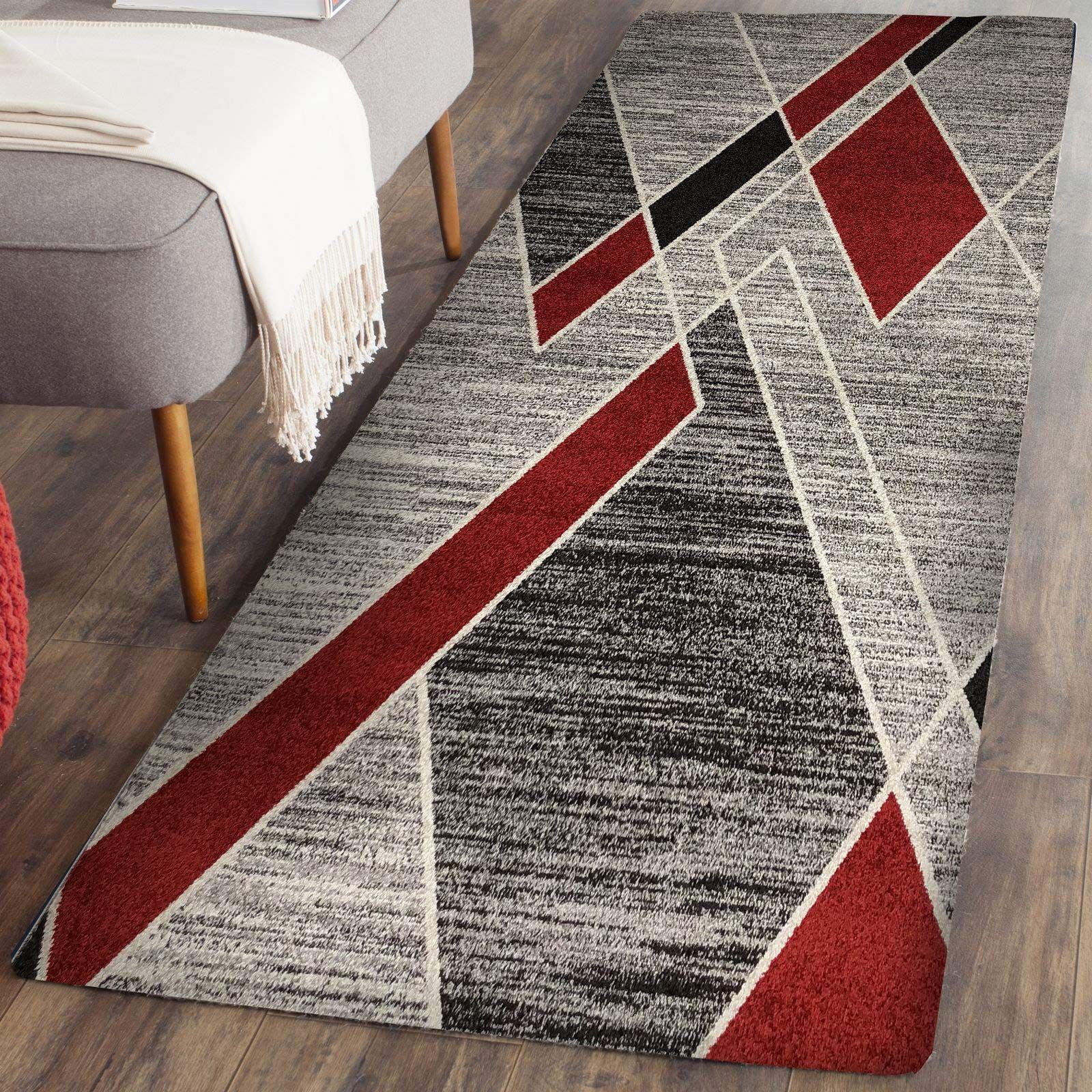 Prestige Decor Area Rugs 2x5 Living Room Rug Carpet Grey Red For