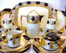"IMPRESSIVE and elegant. Limoges / Bavaria Porcelain 20 PIECE CHOCOLATE Set ~ Hand Painted with Japanese Motif ~ Artist Signed ""Beth'' ~ Haviland / Rosenthal / Paroutaud Freres 1903-1917.    www.timberhillsantiques.com"