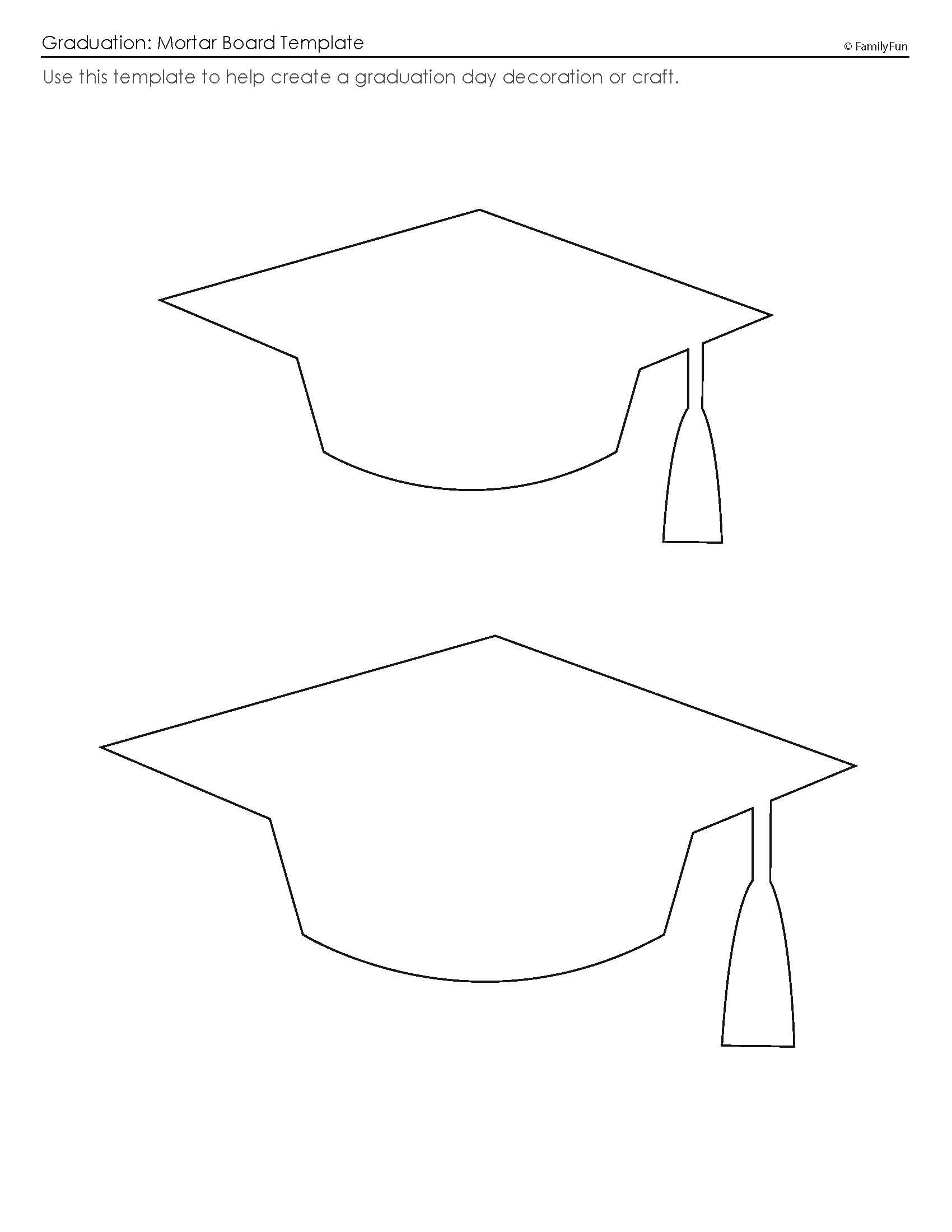 Customize your free printable mortar board template for Graduation mortar board template