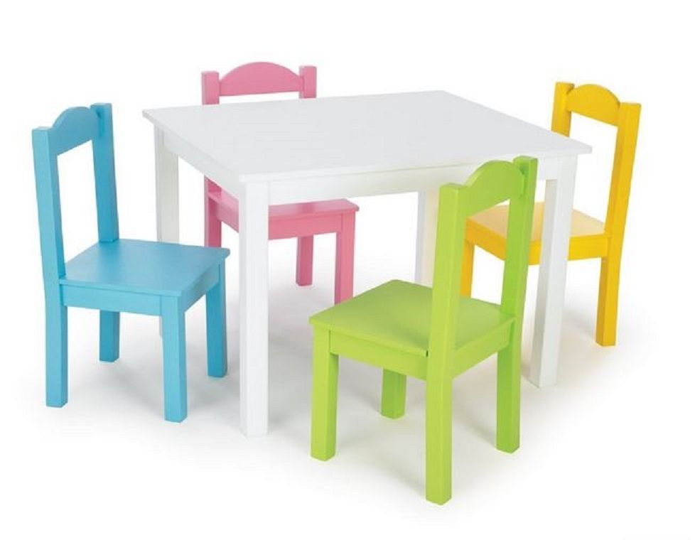 Kids Wooden Table Chairs Set Playroom Toddlers Playset Crafts