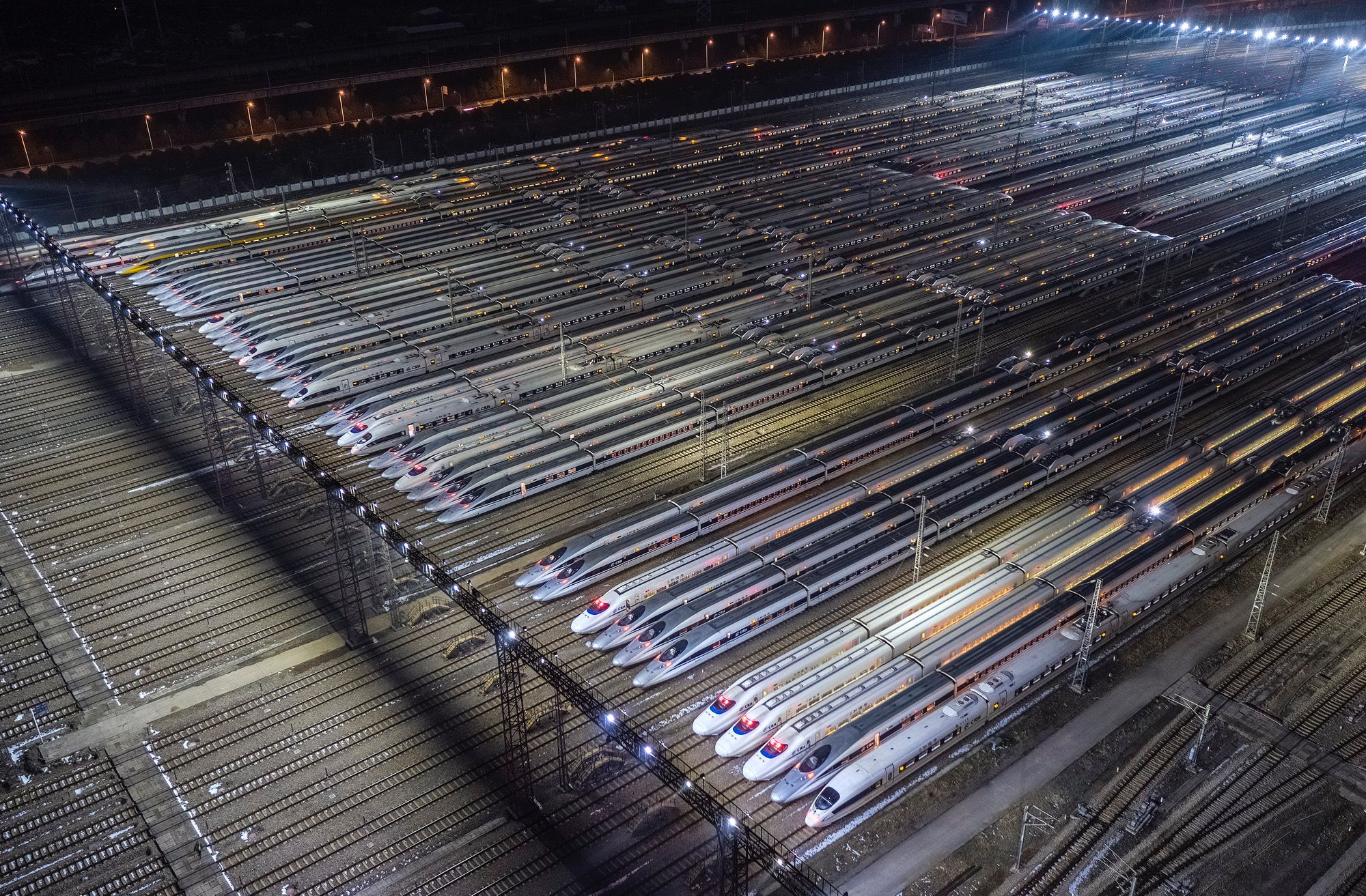China's Wuhan high speed train depot, the world's largest