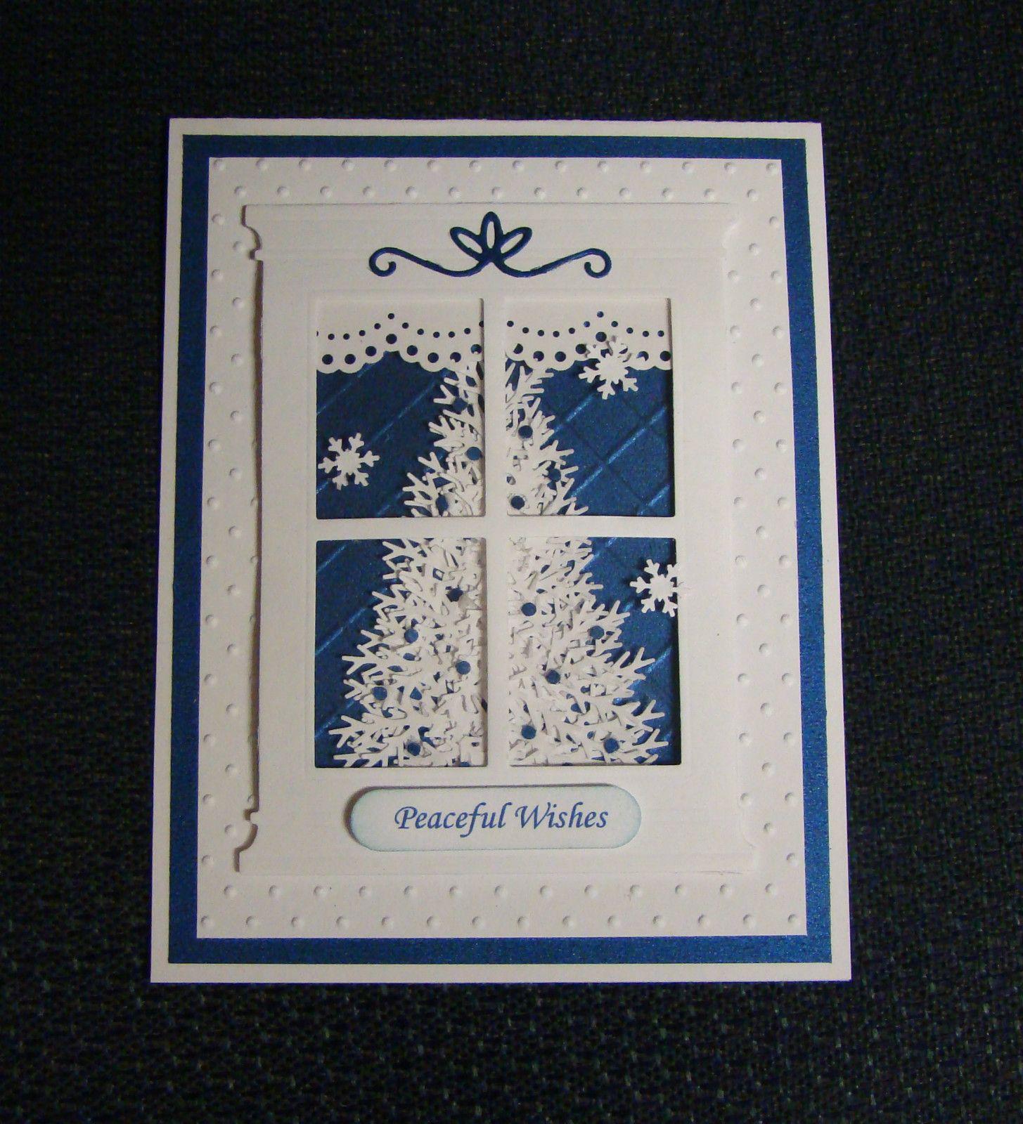 Christmas Window Handmade Card Winter Tree with Embossing