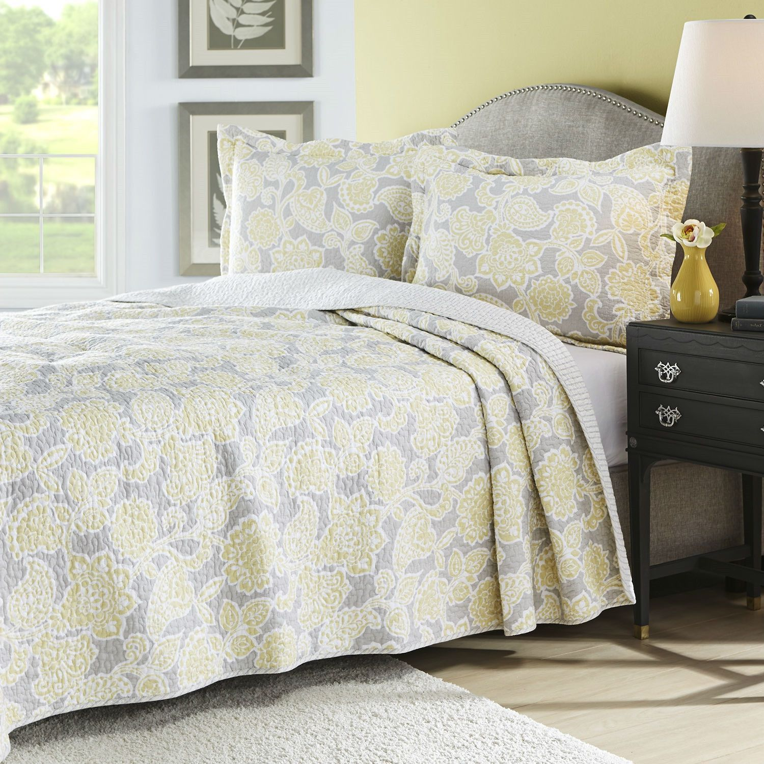 twin yellow gray floral 100 cotton reversible quilt coverlet set