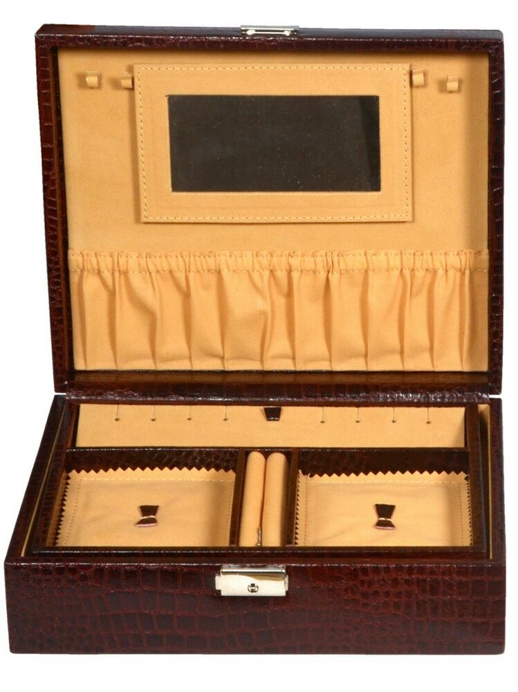 Details About Pure Leather Brown Multi Compartment Jewelry Box