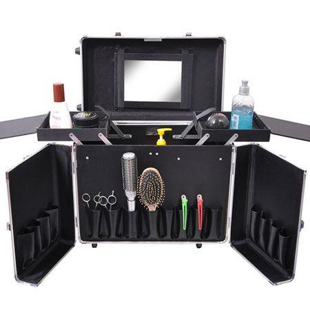 Aluminum Rolling Salon Hair Stylist Train Case W Handle