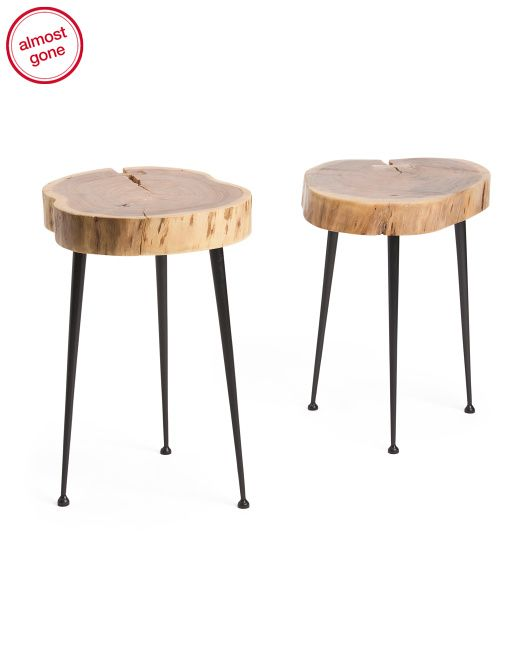 Latest $100 Set 2 Wood Tables wood slice table top simple organic natural furniture look Fresh - Review tree slice coffee table Awesome
