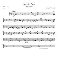 Jurassic Park Main Theme Trumpet Sheet Music Recorder Music Music