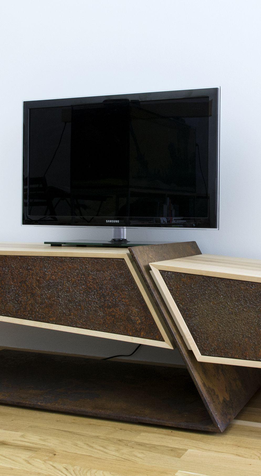hifi lowboard meisterstuck martin winkler aus ahorn und cortenstahl furniture lowboard mobel