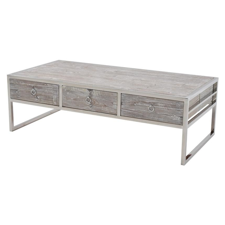 The Firmina Coffee Table brings a new look to the old cottage style and functionality with six storage drawers The raised oak wood veneers have a