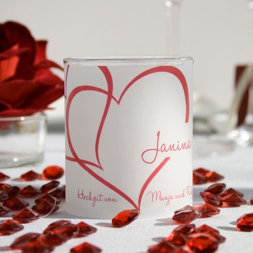 Tischkarte Windlicht Zwei Herzen