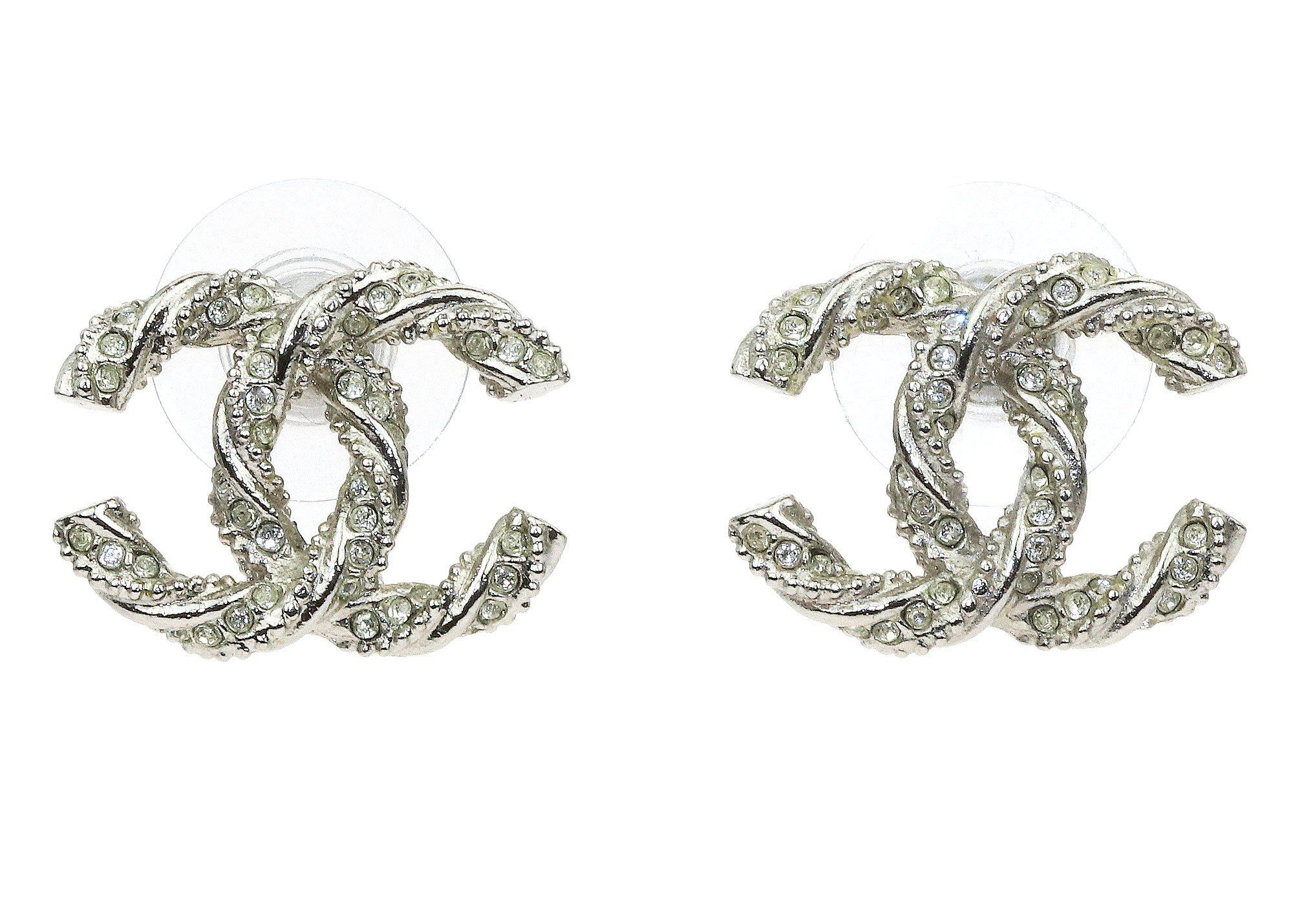 8bbc24b63 Chanel Silver Twist Crystal CC Logo Stud Earrings | My Style ...