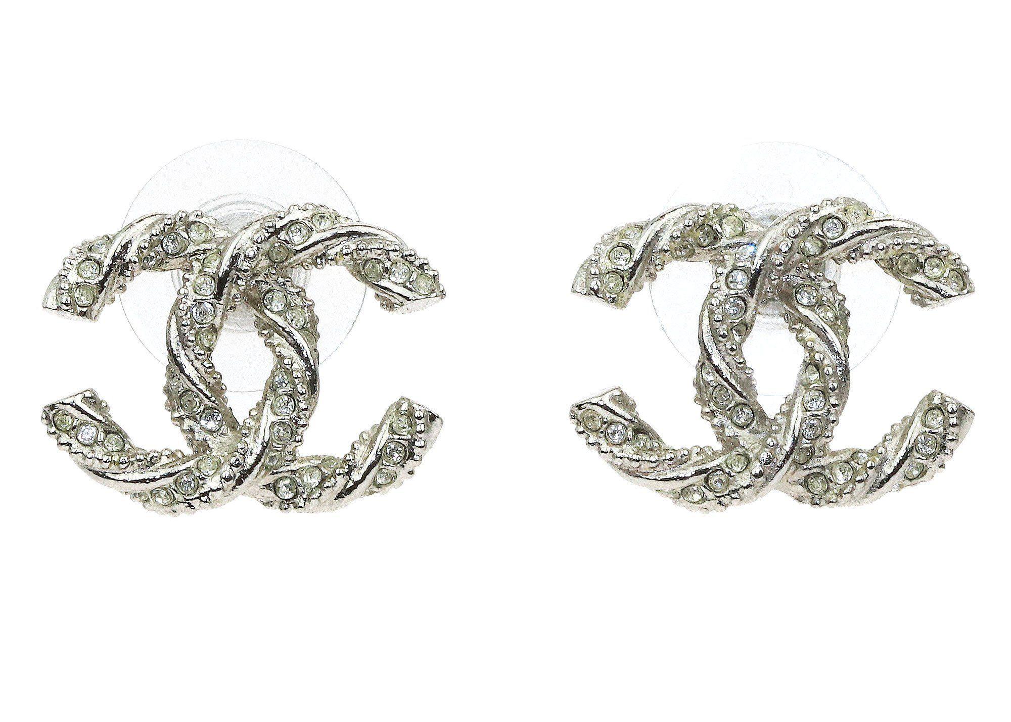 5610a5126 Chanel Silver Twist Crystal CC Logo Stud Earrings | My Style ...