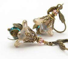 Flower Earrings Rose Teal Crystal Hawaiian Wedding Bridal Bridesmaid Jewelry