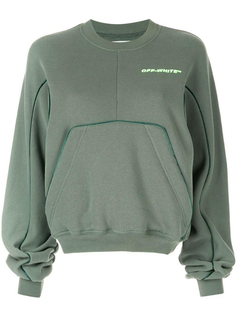 Off White Oversized Pocket Sweatshirt Farfetch Shirt And Jeans Women Pocket Sweatshirt Sweatshirts [ 1067 x 800 Pixel ]