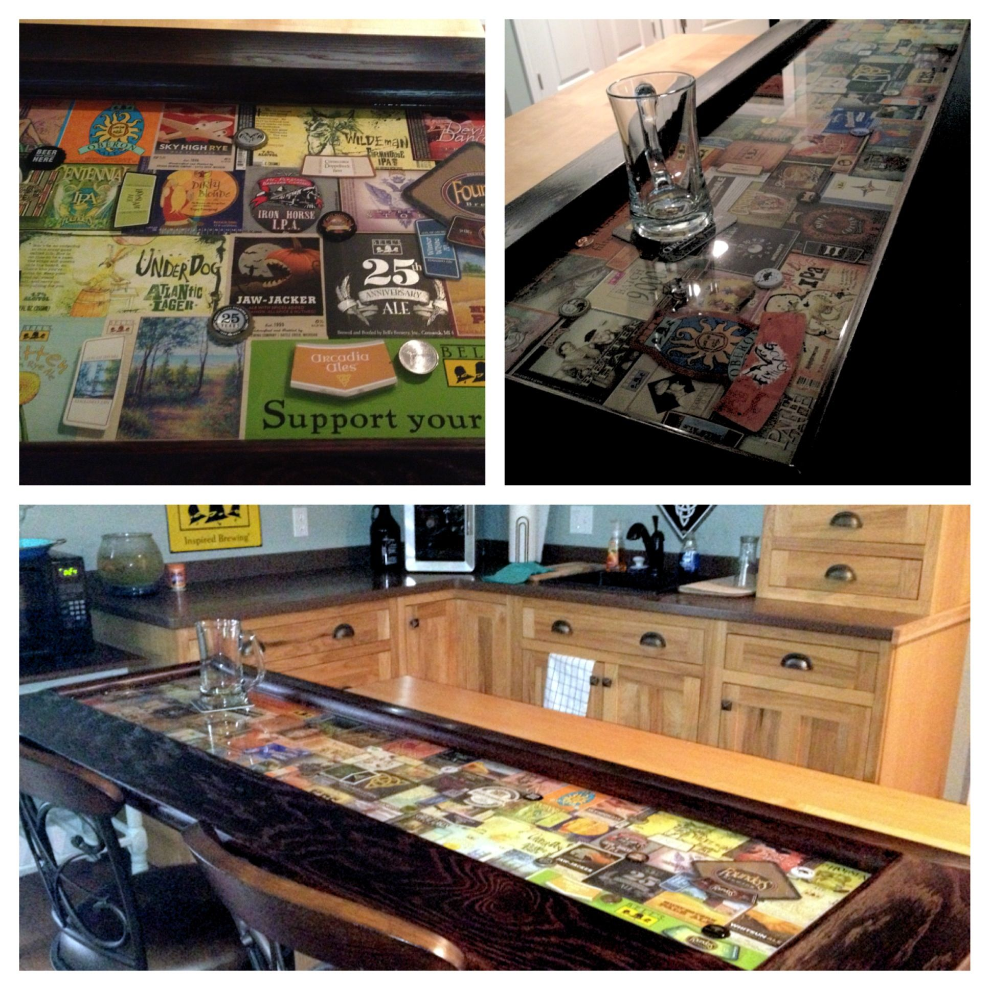 Pin By Lisa Woodman Rumbles On Mancave Epoxy Bar Top Made With Beer Labels Coasters Bottle Caps Cigar Labels Etc Kitchen Labels Man Cave Home Bar Top Kitchen Table