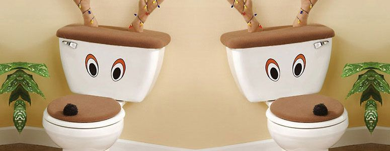 Reindeer Toilet Seat Cover And Antlers Set CoversToilet SeatsChristmas