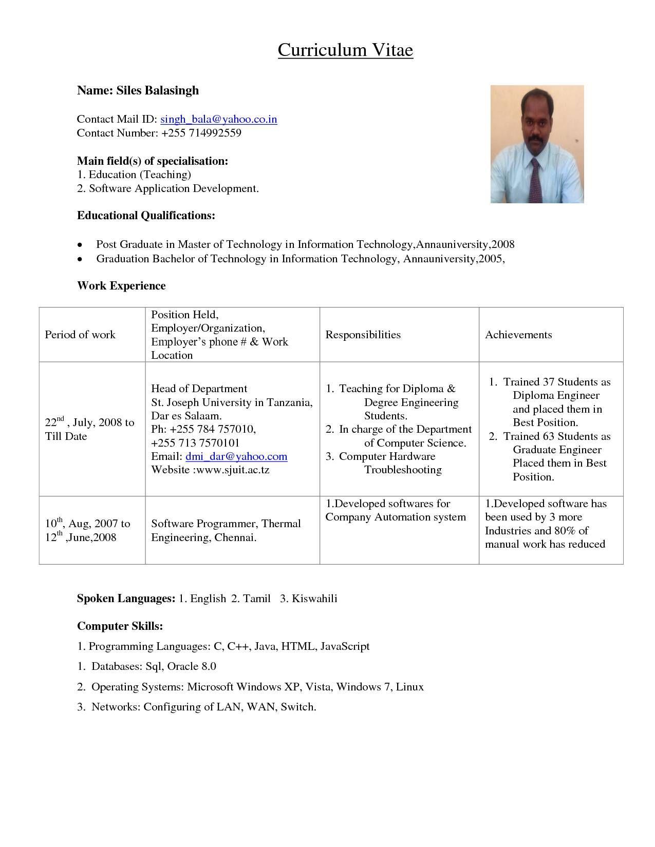 Sample Resume Format For Assistant Professor In Engineering Teaching Jobs Engineering Jobs Teaching