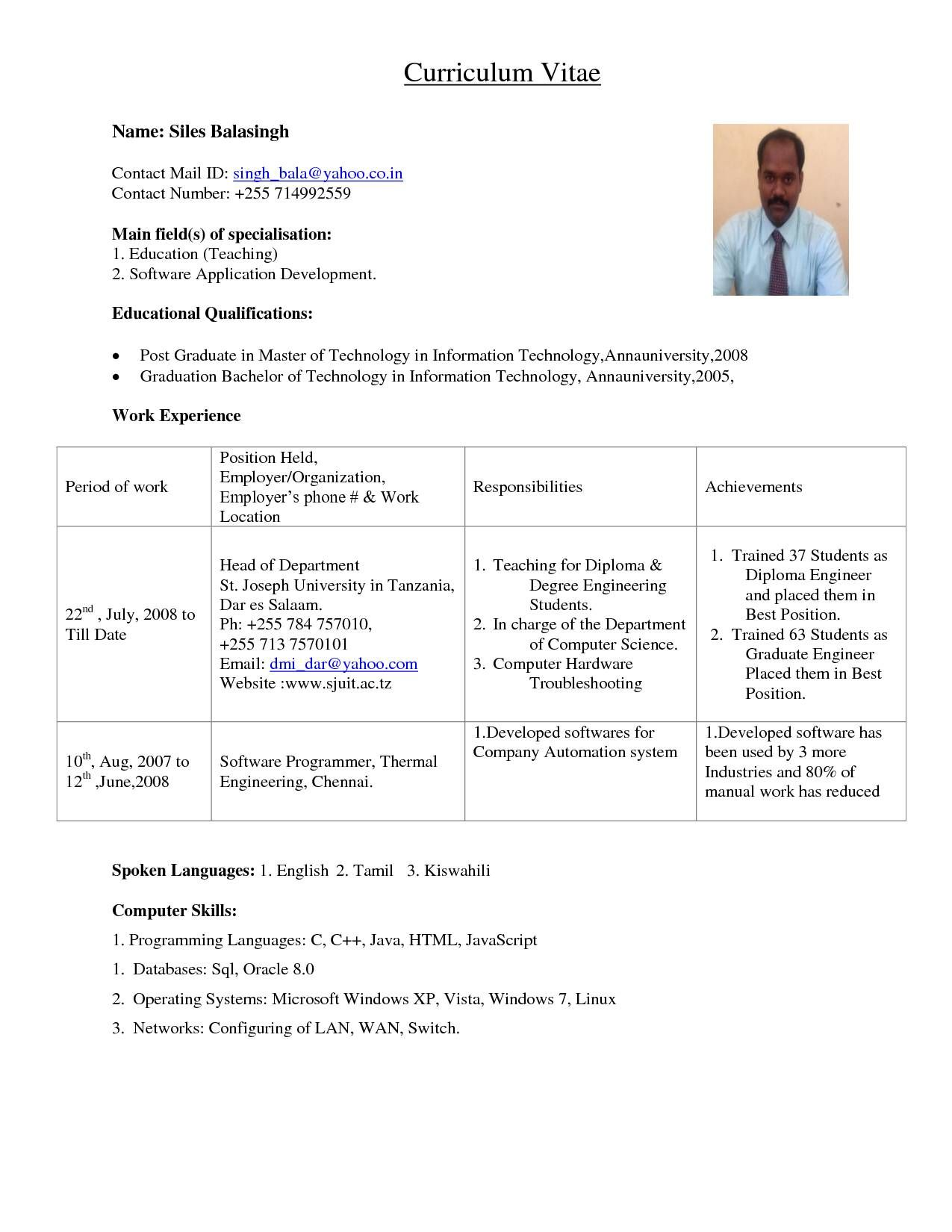Sample Resume Format For Assistant Professor In Engineering