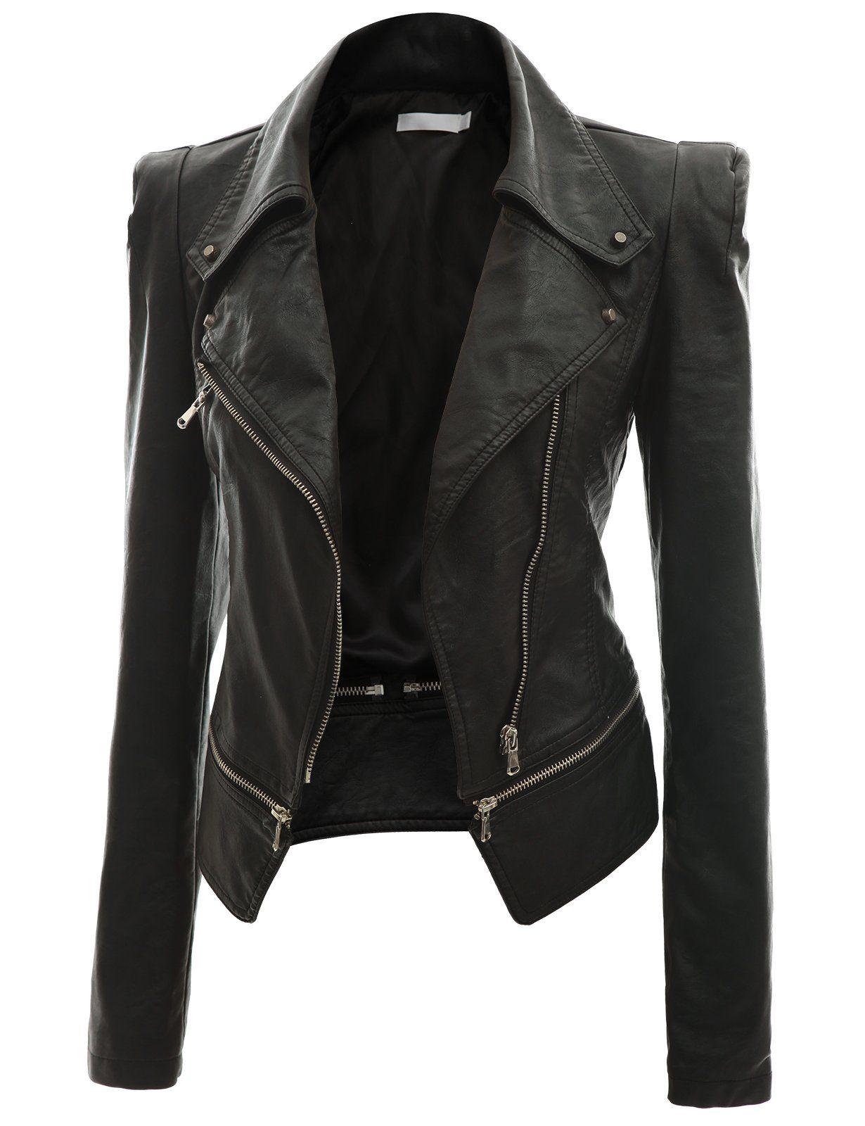 Leather jacket hoi an - Doublju Women S Faux Leather Power Shoulder Jacket At Amazon Women S