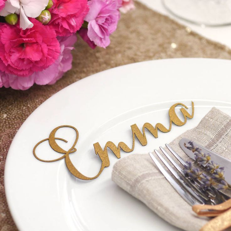 Laser Cut Name For Weddings This Looks Much Nicer Than The Traditional Place Cards These Could Be Printed Too I Just Love My Printer And